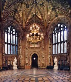 The octagonal Central Lobby in the Houses of Parliament. London, featuring mosaics of St George, St David, St Andrew and St Patrick. Everything to the south is part of the House of Lords, and everything to the north is part of the House of Commons