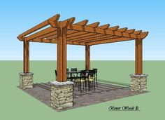Aspen Pergola - the stone pillars are cool and would match the pillars on the porch.....