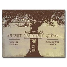 old tree and string lights save the date postcards