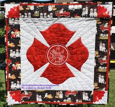 Maltese cross quilt you need to make something like this for Derek! Firefighter Family, Firefighter Paramedic, Firefighter Decor, Female Firefighter, Volunteer Firefighter, Firefighters Wife, Firemen, Firefighter Bedroom, Firefighter Quotes
