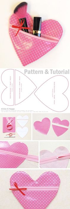 How to sew a heart pouch. Pattern & Tutorial http://www.free-tutorial.net/2017/09/heart-pouch-tutorial.html