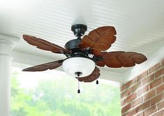 """44"""" Tropical Indoor Outdoor 5 Blades Flush Mount Ceiling Fan With Light Kit NEW #HomeDecoratorsCollection"""