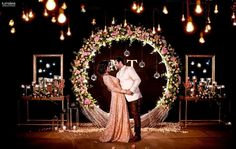 Beautiful Wedding Reception Decoration Ideas - Put the Ring on It Engagement Stage Decoration, Wedding Stage Design, Wedding Reception Backdrop, Wedding Mandap, Reception Stage Decor, Wedding Backdrops, Wedding Bride, Wedding Table, Desi Wedding Decor