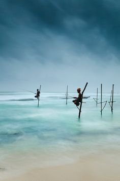 Stilt Fishing in Weligama, Sri Lanka.