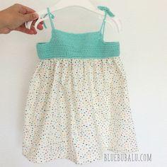 Vestido de ganchillo y tela. Tutorial gratis con BlueBubalu.com Crochet For Kids, Knit Crochet, Girls Dresses, Summer Dresses, Paper Flowers Diy, Diy For Kids, Baby Knitting, Baby Dress, Girl Fashion