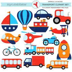 Transport+Clipart+Set++clip+art+set+of+by+mycutelobsterdesigns,+$4.00