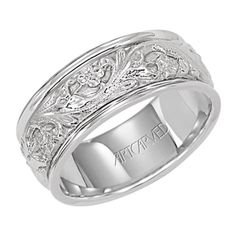 ArtCarved 8mm men's wedding band with 14KT white gold inlay.