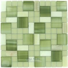 Distinctive Glass | GG-MBC301 | White Marble and Bright Green Glossy and White Matte Glass | Tile > Glass Tilecooltile.com