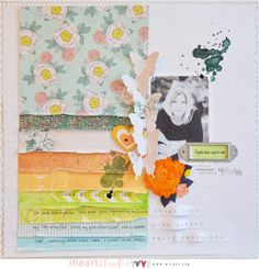 #papercraft #scrapbook #layout  Love the use of 6x6 papers and there's a lush mixture of them here.