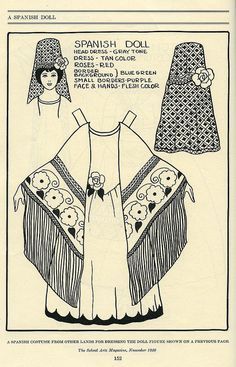 A charmingly pretty 1920s Spanish costume paper doll outfit.  Like the shawl.