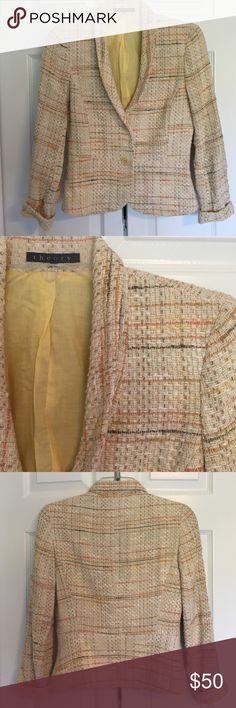 Theory cream tweed blazer Cut to perfection and a great color for fall! 74% cotton, 13% acetate, 10% rayon, 3% polyamide. EUC. 22 inches long. Theory Jackets & Coats Blazers