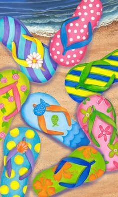 Custom Decor Flag - Flip Flop Beach Decorative Flag at Garden House Flags at… Beach Flags, Decoupage, Summer Painting, Paint And Sip, House Flags, Paint Party, Beach Art, Summer Art, Art Plastique