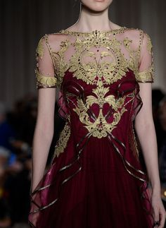 Marchesa NYFW Spring 2013 rtw What a beautiful dress! I love the deep rich red with the gold