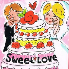 Blond kaart Sweet love