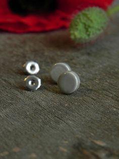 Little Grey Unisex Modern Ceramic Earrings Small Gray by Ceraminic