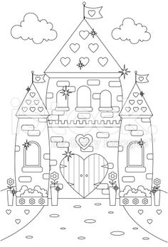 fairytale enchanted sparkly princess castlepalace to color in royalty free stock vector art