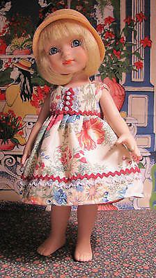 Floral fabric dress and slip fits Ann Estelle/Patsy Antique white opal buttons