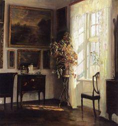 A Sunlit Interior by Carl Vilhelm Holsøe.