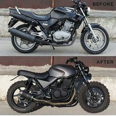 "SAINT MOTORS Co.™ ☠️ 19⚡13 on Instagram: "" by @grommoto Before & After. Honda CB500. #honda #cb #custom #bike #motorcycle #bratstyle #scrambler #caferacer #instamoto…"""