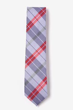 Bring a smart and stylish look into your casual attire with this excellent men's skinny necktie. This tie features a crisp and sophisticated plaid in lavender, green, purple, and pop of red.