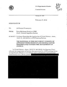 Justice Department 'Complies' With FOIA Request For GPS Tracking Memos; Hands ACLU 111 Fully Redacted Pages | Techdirt