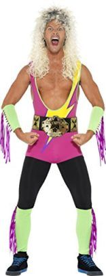 Smiffys Mens Fancy Dress Up Party Retro Wrestler Bodysuit Costume Outfit Cosplay Costumes For Men, Boy Costumes, Adult Costumes, Wwe Halloween Costume, Retro Costume, Wrestling Costumes, Wrestling Birthday, Bodysuit Costume, Lucha Libre