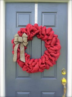 Large Red Wreath - Burlap Wreath - Red Wreath--would be nice in white with a red bow or a red leaf in honour of Canada Day Patriotic Crafts, Patriotic Wreath, 4th Of July Wreath, Home Crafts, Crafts For Kids, Diy Crafts, Canada Day Crafts, Canada Day Party, All Holidays