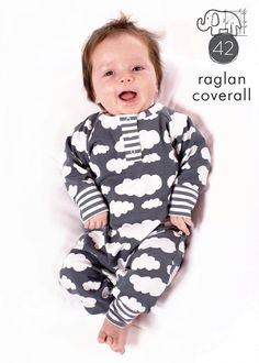 Pdf sewing pattern for a one-piece outfit with a raglan sleeves and a snap placket neck, great one-piece for newborns, babies, and toddlers!
