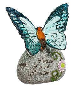 Look what I found on #zulily! 'Peace Love Garden' Butterfly Solar Garden Stone #zulilyfinds