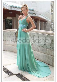 A-Line Halter Neckline Sleeveless Floor-length Prom Dresses