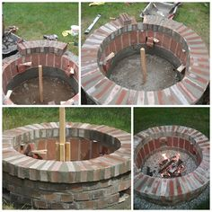 Fogueira - DIY Brick Fire Pit in One Weekend. Saved some extra brick just for this! Backyard Projects, Outdoor Projects, Diy Projects, Backyard Designs, Backyard Ideas, Brick Projects, Landscaping Equipment, Backyard Landscaping, Backyard Seating