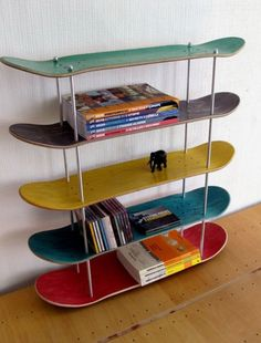 skateboard art shelves diy