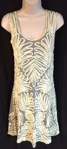 CHAN LUU Anthropologie Women's M Dress Knit Sleeveless Tank Gray Ivory Applique  | eBay