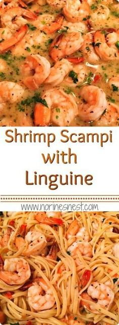 Easy Shrimp Scampi in a delicious lemon white wine garlic butter sauce with Linguine. It's simple and fantastically yummy! Needs another teaspoon or tablespoon salt. A bit of pepper. Use salted butter next time. Great meal for family or guests. Shrimp Dishes, Fish Dishes, Pasta Dishes, Italian Recipes, New Recipes, Cooking Recipes, Healthy Recipes, Cooking Tips, Orange Recipes