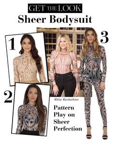 """""""Get the Look: Sheer Bodysuit"""" by windsorstore on Polyvore featuring sheer, bodysuit, jumpsuit, khloekardashian and onepiece"""