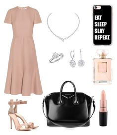"""""""Slaying it"""" by rozlynjanine ❤ liked on Polyvore featuring Valentino, Gianvito Rossi, Harry Winston, Tiffany & Co., Givenchy, MAC Cosmetics, Casetify and Chanel"""
