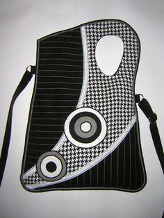 Haversack MEDIUM BAG sling bag travel tote purse mixed fabrics in Black-White  striped houndstooth  with Circles