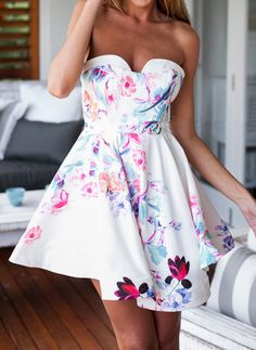 White Strapless Floral Backless Dress