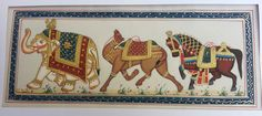 Rajasthani miniature painting of symbols of Jaipur, Jaisalmer and Udaipur