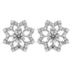 Preowned 4.61 Carat Diamond Platinum Openwork Snowflake Earrings ❤ liked on Polyvore featuring jewelry, earrings, diamond earrings, platinum earrings, diamond earring jewelry, round earrings and diamond snowflake jewelry