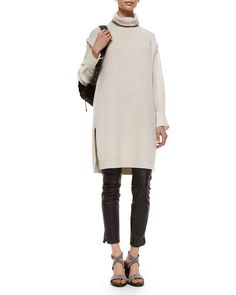 Brunello Cucinelli Monili-Beaded Turtleneck Tunic Sweater, Chiffon-Sleeve Cotton Stretch Top & Leather Ankle-Zip Leggings