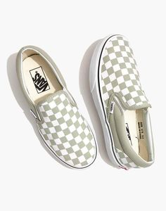 5d4b046384 Madewell Vans Unisex Classic Slip-On Sneakers in Desert Sage Checkerboard