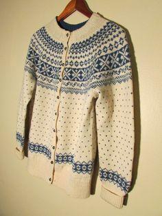 Vtg FROM NORWAY! HAND KNIT White/Blue WOOL NORWEGIAN SWEATER Cardigan SZ M/L Ski #Handmade