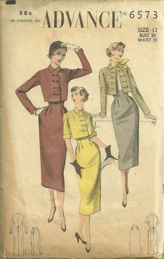 Advance 6573 Misses 1950s High Waist Skirt and Cropped  Jacket Pattern by mbchills, womens vintage sewing pattern