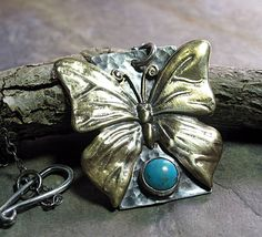 Butterfly Pendant in Brass, Sterling Silver and Turquoise - Butterfly Skies. ...from Lavender Cottage on Etsy