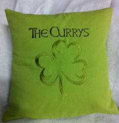 This #custom #embroidered #Irish #shamrock pillow is such a cute #housewarming gift. By #WickedStitchesGifts