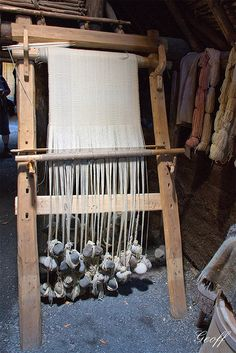 ww loom at L'Anse aux Meadows. No spacing chains or tenter hooks. Very little narrowing considering how much has been woven.