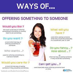 "Ways of ""Offering something to someone"""