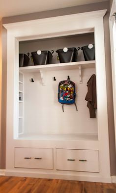 Hallway Coat Closet Turned Bench Mudroom Would Like To Do This With The