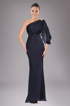 Smashing One-shoulder Military Ball Dress with Brooch and Beaded Floral